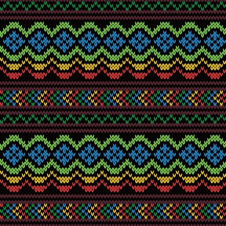 Ethnic Multi colored motley background in red, yellow, green, brown, blue and magenta colors, seamless knitting vector illustration