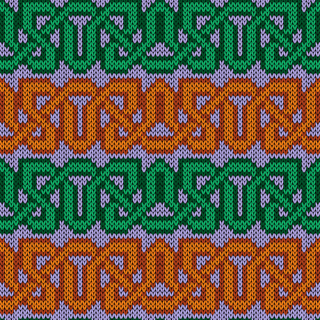 Ornamental horizontal interlaced rows with green and orange threads, seamless knitting vector pattern as a fabric texture
