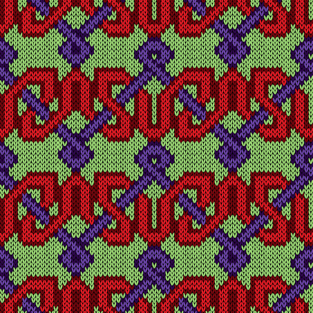 Knitting seamless ornamental vector pattern with alternating ribbing rows in the red, violet and green colors