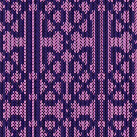 Ornamental background in violet and magenta colors, seamless knitting vector pattern as a fabric texture Stock Illustratie