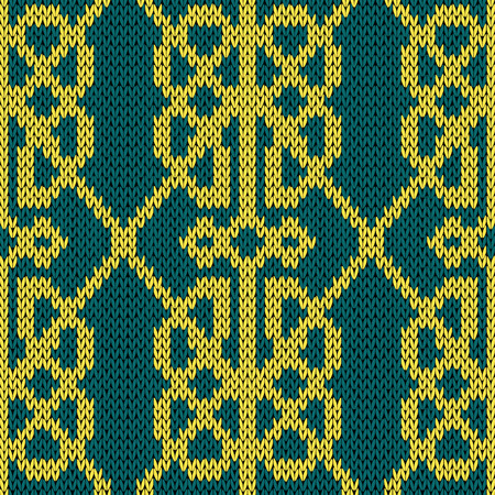 Ornamental background in turquoise and yellow colors, seamless knitting vector pattern as a fabric texture