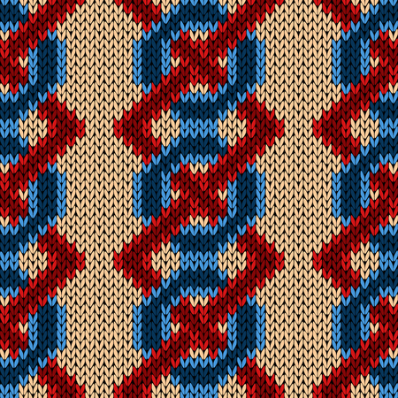 Interlaced knitting seamless vector pattern with blue chains and red zigzag lines on the beige background