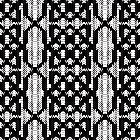 Ornamental background in black and white colors, seamless knitting vector pattern as a fabric texture  イラスト・ベクター素材