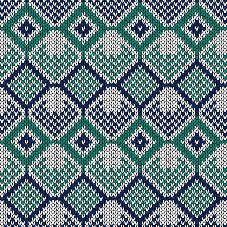 Knitted seamless vector pattern with quadratic ornament in turquoise, white and blue colors as a fabric texture
