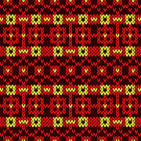 Knitted seamless vector pattern with quadratic ornament in yellow and red colors as a fabric texture Stock Illustratie