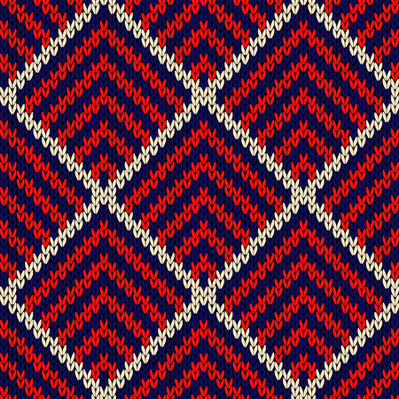 Knitted seamless vector pattern with quadratic elements in blue, red and white colors as a fabric texture