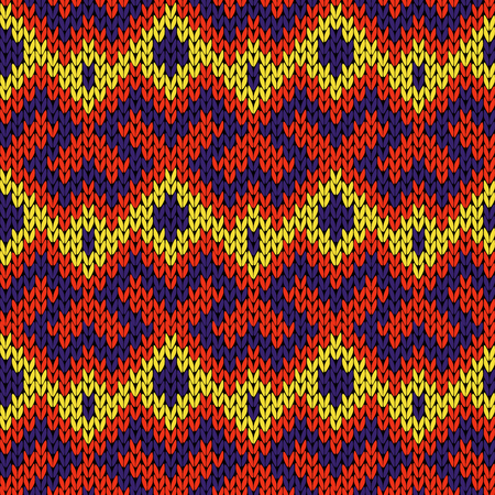Knitted seamless vector ornate pattern in yellow, red and blue colors as a fabric texture Illustration