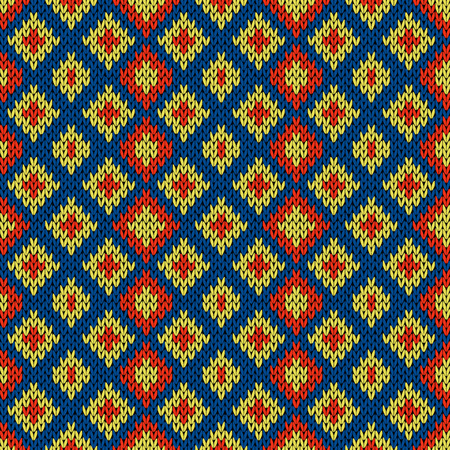 Knitted seamless symmetrical vector pattern with quadratic elements in blue, red and yellow colors as a fabric texture Stock Illustratie