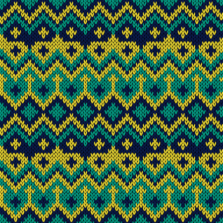 Knitted seamless vector ornate pattern in yellow, turquoise and blue colors as a fabric texture
