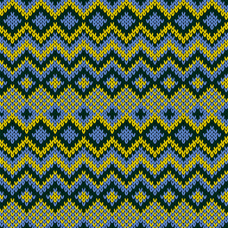 Knitted seamless vector ornamental pattern in blue, yellow and dark green colors as a fabric texture