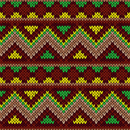 Knitted seamless vector ornamental pattern with color zigzags as a fabric texture
