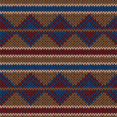Knitted seamless vector pattern with triangular and linear elements in light brown, blue and red colors as a fabric texture