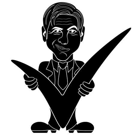 Silhouette manager with a big checkmark, stencil vector cartoon vector illustration
