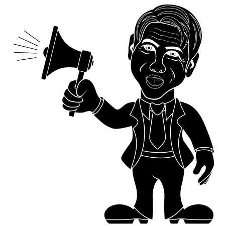 Man holding a megaphone and call through it, advertising concept cartoon vector stencil illustration