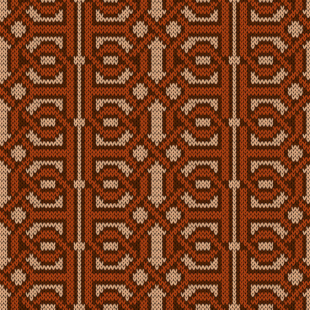 Symmetrically interwoven brown threads on the beige background, seamless vector knitted pattern as a fabric texture