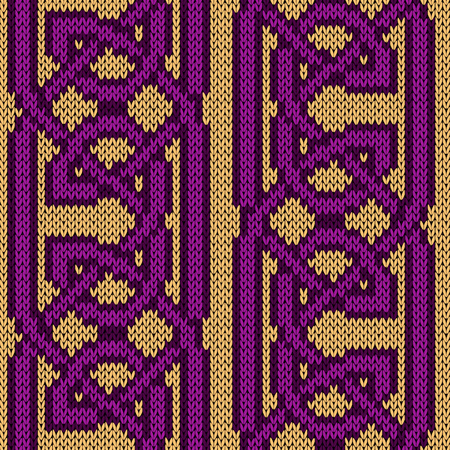 Magenta threads are interwoven on the beige background, seamless vector knitting pattern as a fabric texture
