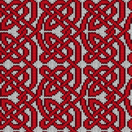 Chaotically interlaced red lines on the white background, seamless vector knitting pattern as a fabric texture  イラスト・ベクター素材