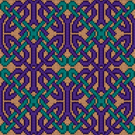 Knitted seamless vector pattern with violet and turquoise threads interwoven with each other on the beige background