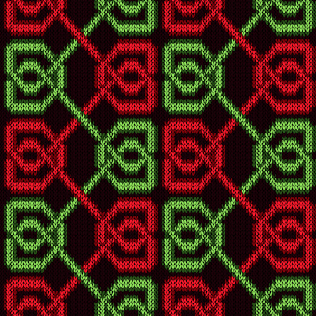 Bright red and green threads symmetrically interlaced on the dark red background, seamless vector knitting pattern as a fabric texture
