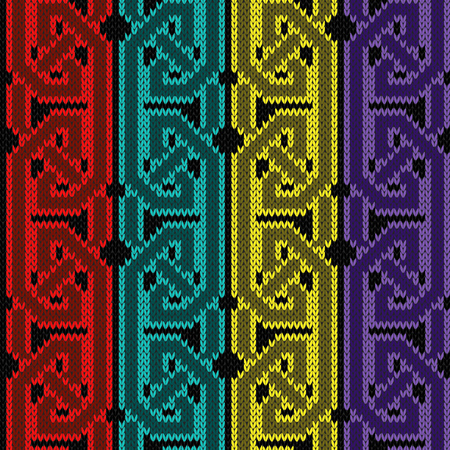 Knitted seamless vector pattern with interlacing turquoise, red, yellow and purple threads on the black background as a fabric texture.