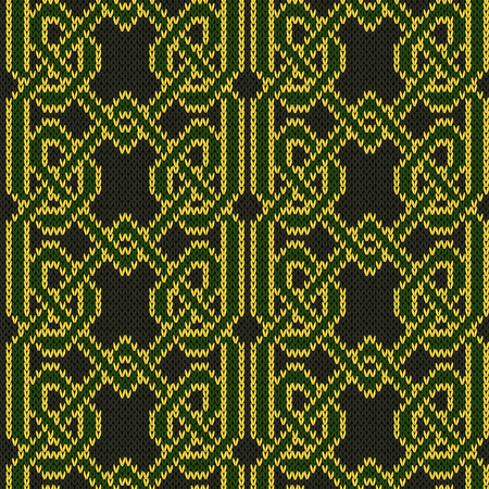 Interlacing green threads with yellow contour on the dark background, seamless vector knitted pattern as a fabric texture.