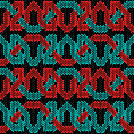 Knitted seamless vector horizontal ornament with interlacing red and turquoise threads on the black background as a fabric texture.