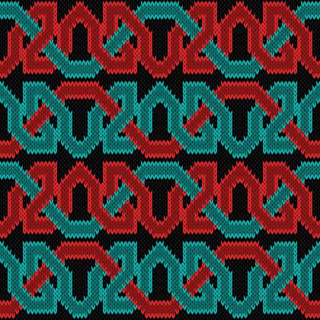 Stricken nahtlose Vektor horizontale Verzierung mit Verflechtung roter und türkisfarbener Fäden auf dem schwarzen Hintergrund als Stoffbeschaffenheit. Vektorgrafik