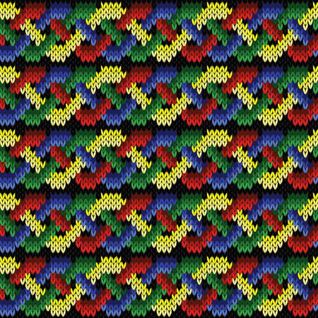 Interweaving of bright yellow, green, blue and red lines on the black background, seamless vector knitted pattern as a fabric texture.
