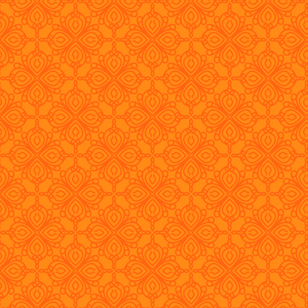 Seamless antique pattern with orange ornament on the bright background as a fabric texture