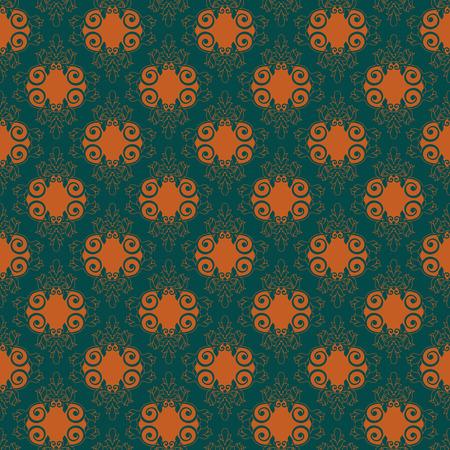 Seamless vector vintage ornament with floral orange pattern on the turquoise background as a fabric texture