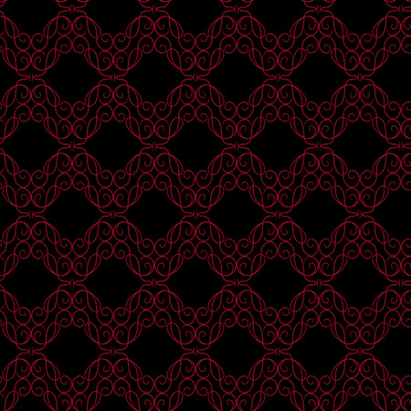 Seamless vector antique ornament with red interlaced lines on the black background as a fabric texture Illustration