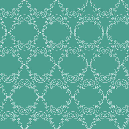Seamless antique floral ornament with white lines on the delicate blue background,  as a fabric texture Illustration