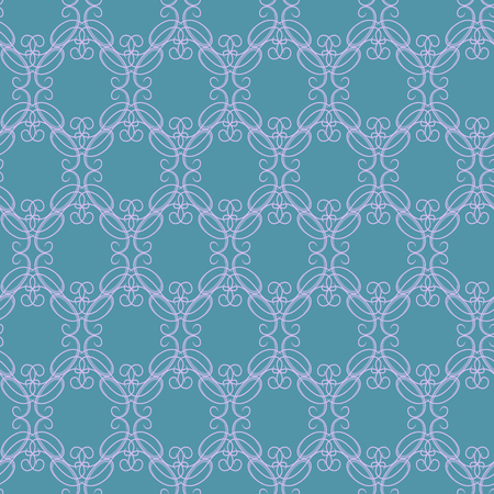 Seamless vector antique ornament with light purple interlaced lines on the delicate blue background as a fabric texture