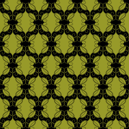 Seamless vector antique pattern with bright olive lines on the black background as a fabric texture