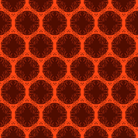 Brown floral antique ornament on the bright orange background, seamless vector as a fabric texture