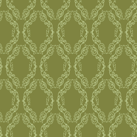 Seamless vector antique ornament with light green interlaced lines on the khaki background as a fabric texture