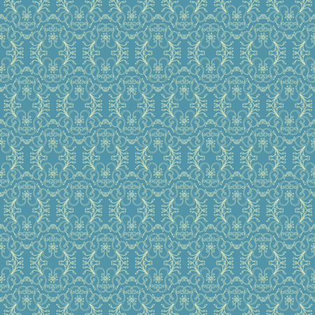 Delicate floral antique ornament light yellow to the blue background, seamless vector as fabric texture