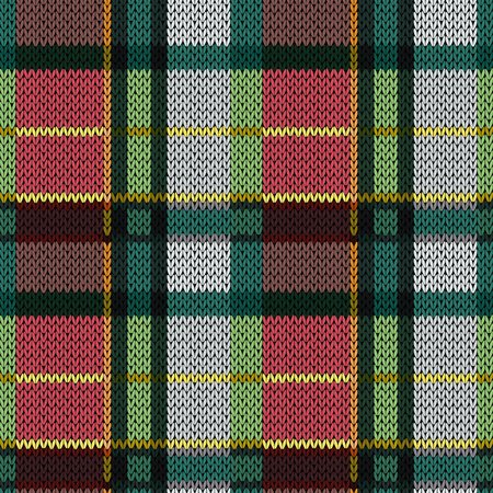 Knitting seamless vector pattern with perpendicular lines as woollen Celtic tartan plaid or knitted fabric texture in red, pink, green and grey hues Stock Illustratie