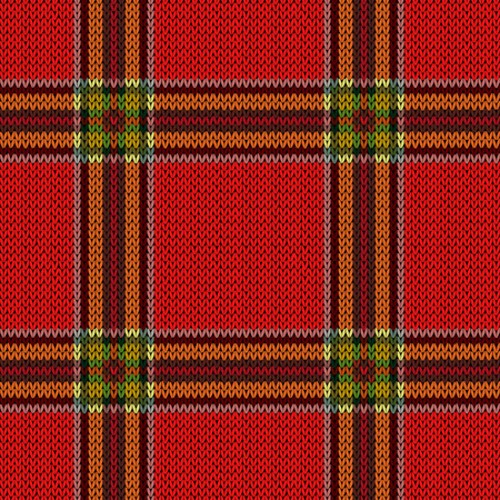 Knitting seamless vector pattern with lines in dark red, pink and orange colors on the bright background as woollen Celtic tartan plaid or knitted fabric texture Illustration