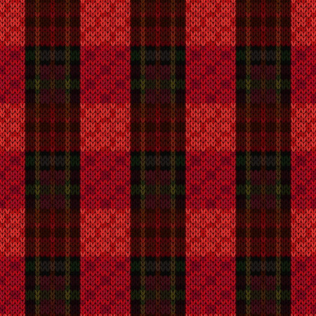 Knitting seamless vector pattern with parallel wide lines in dark red and green colors on the bright background as woollen Celtic tartan plaid or knitted fabric texture