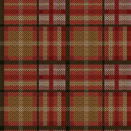 Knitting seamless vector pattern with perpendicular lines as woollen Celtic tartan plaid or knitted fabric texture in khaki, red, pink and beige hues Stock Illustratie