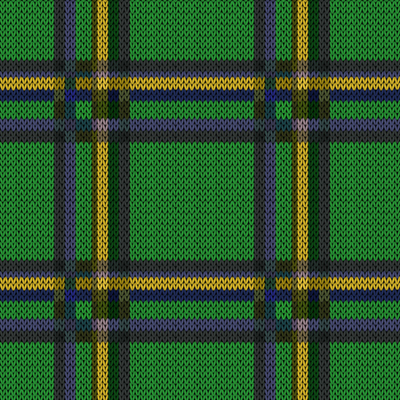 Perpendicular lines grey, blue, yellow and khaki hues on the bright green background as woollen Celtic tartan plaid, knitting seamless vector pattern Ilustração