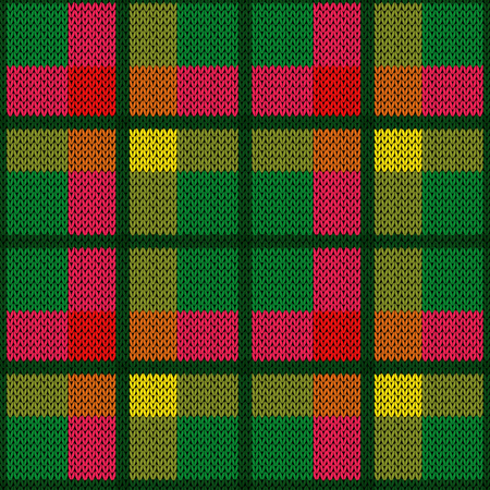 Bright wide and narrow perpendicular lines in green, red and yellow hues as woollen Celtic tartan plaid or knitted fabric texture, seamless vector pattern Stock Illustratie