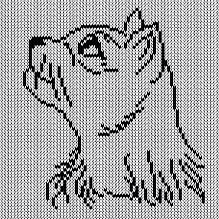 Contour of an interested black cat looks up, knitting vector pattern as a fabric texture