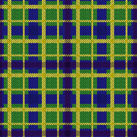 Knitting seamless vector pattern with perpendicular lines in bright yellow and blue on the green background, as woollen Celtic tartan plaid or knitted fabric texture