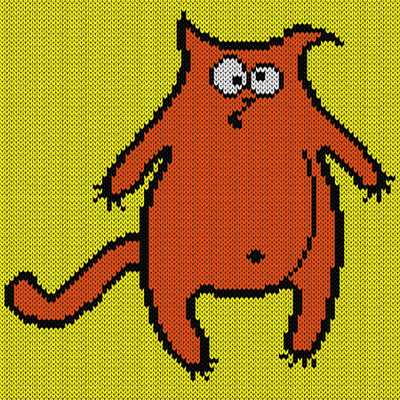 Amusing, fat and surprised orange cat on a bright yellow background, knitting vector pattern as a fabric texture