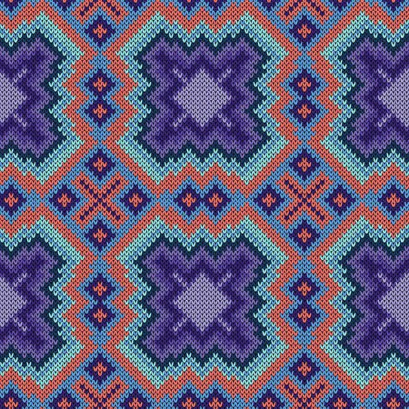 Knitting seamless ornament in blue and violet hues on a pink background, vector pattern as a fabric texture