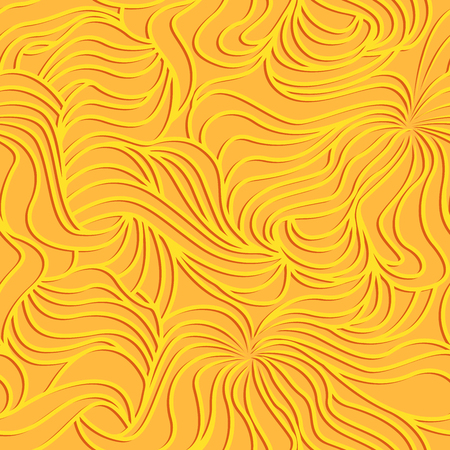 Seamless background made with interwoven wavy lines and curves in yellow and orange colors as a fabric texture
