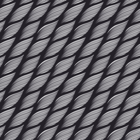 Monochrome seamless vector pattern with wavy lines of different thickness in form of yarn as a fabric texture  イラスト・ベクター素材