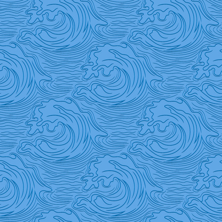 Sea waves with shadows on the unsaturated blue background, seamless vector pattern as a fabric texture Illustration